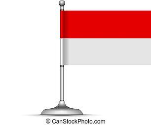 fehér, vektor, indonesian lobogó, ábra, háttér.