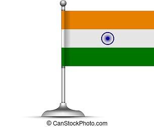 fehér, vektor, lobogó, indiai, álló, ábra, háttér.