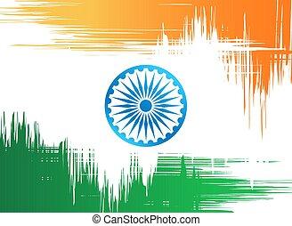 fehér, vektor, lobogó, indiai, illustration., háttér.