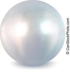 fehér, vektor, pearl.