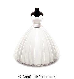 fehér, vektor, ruha, elszigetelt, esküvő