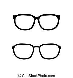 fehér, vektor, szemüveg, háttér, elszigetelt, ikon