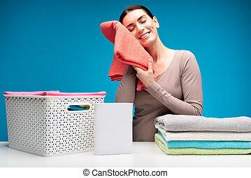 fehérnemű, mosoda, kitakarít, háziasszony, asztal