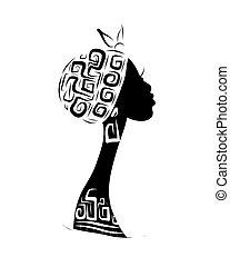 fej, árnykép, díszítés, tervezés, női, etnikai, -e