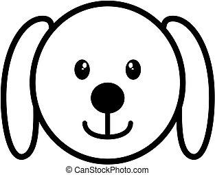 fej, áttekintés, kutya, vektor, egyenes, icon., illustration.