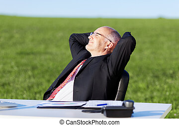 fej, íróasztal, mező, mögött, kézbesít, üzletember