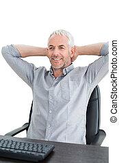 fej, ülés, íróasztal, mögött, kézbesít, üzletember