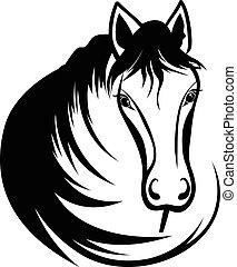 fej, black ló, sörény