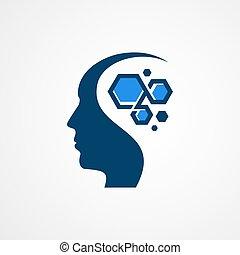fej, elme, tervezés, értelem, egészség, színes, jel, fogalom, tech