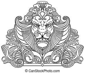 fej, fekete, fehér, oroszlán