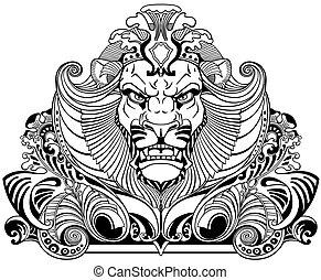 fej, fekete, tetovál, oroszlán, fehér