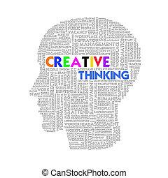 fej, fogalom, szó, ügy, belső, gondolat, alakít, kreatív, felhő