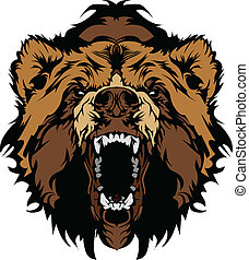 fej, grizzly tart, vektor, gra, kabala