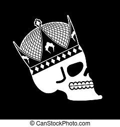 fej, halál, king., csontváz, koponya, crown., császár
