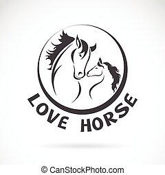 fej, kép, ló, vektor, tervezés, háttér, fehér