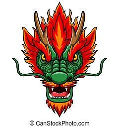 fej, kabala, kínai, karikatúra, sárkány
