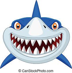 fej, karikatúra, cápa