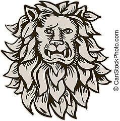 fej, maratás, nagy, mérges, macska, oroszlán