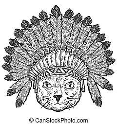 fej, metszés, vektor, illustration., háború, bonnets., horgol, macska