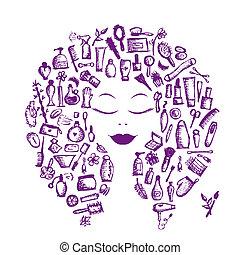 fej, nő, fogalom, kozmetikai, segédszervek, tervezés, női, -e