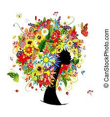 fej, nő, levél növényen, frizura, 4 szezon, menstruáció, tervezés