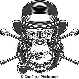 fej, szüret, dohányzó, súlyos, pipa, gorilla