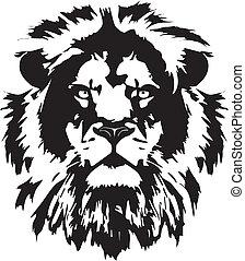 fej, tetovál, oroszlán, fekete