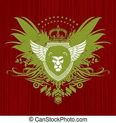 fej, vektor, embléma, címertani, oroszlán