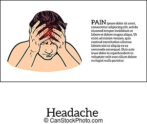 fejfájás, skicc, fogalom, ábra