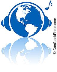 fejhallgató, bolygó, félgömb, zene, western, földdel feltölt, világ