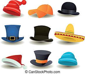 fejhallgató, kivezetés, tető, más, hord, kalapok