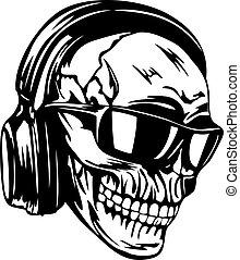 fejhallgató, napszemüveg, koponya