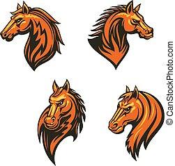fejhallgató, törzsi, ló, vad, amerikai félvad ló, vagy, ikon