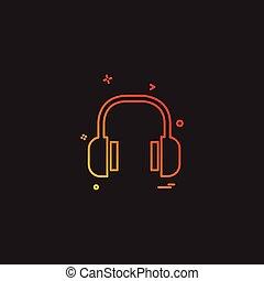 fejhallgató, vektor, tervezés, ikon