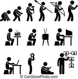 fejlődés, emberi, pictogram