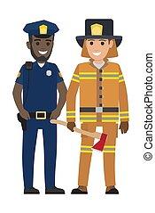 fejsze, fekete, állhatatos, tűzoltó, rendőr