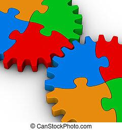 fejtörő, lombfűrész, két, színes, fogaskerék-áttétel