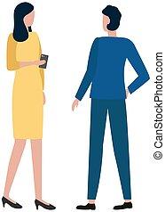 fejteget, probléma, telefon, colleague., üzletasszony, nő, munka, kézbesít, bábu társalgás