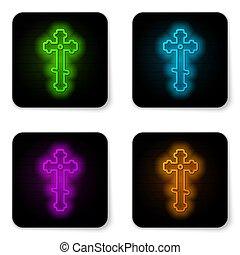 fekete, ábra, button., izzó, templom áthalad, neon, ikon, vektor, keresztény, elszigetelt, derékszögben, egyenes, cross., fehér, háttér.