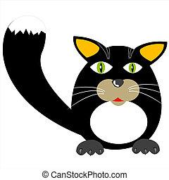 fekete, ábra, macska