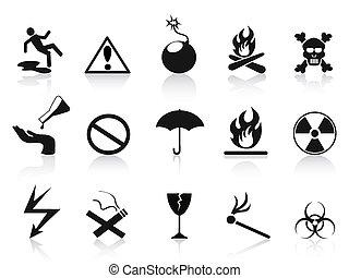 fekete, állhatatos, figyelmeztetés, ikonok