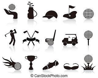 fekete, állhatatos, golf, ikonok