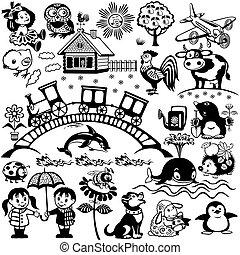 fekete, állhatatos, gyerekek, fehér