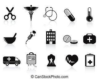fekete, állhatatos, ikonok, orvosi