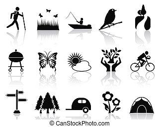 fekete, állhatatos, liget, kert, ikonok