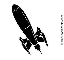fekete, árnykép, rakéta kilő