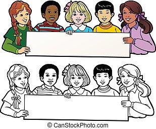 fekete, áttekintés, transzparens, változat, gyerekek, nyereségrészesedés
