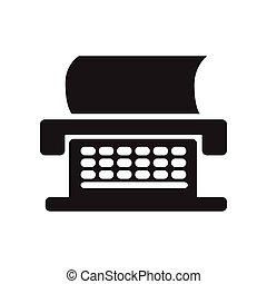 fekete, írógép, mód, ikon, fehér, lakás