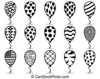 fekete, balloon, motívum, ikonok