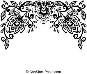 fekete, befűz, white virág